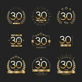 Thirty years anniversary celebration logotype. 30th anniversary logo collection. Vector Royalty Free Stock Photography