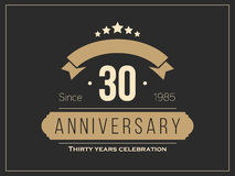 Thirty years anniversary celebration logotype. 30th anniversary logo. Vector Stock Photos