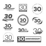 Thirty years anniversary celebration logotype. 30th anniversary logo collection. Vector Royalty Free Stock Photos