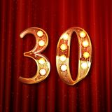 Thirty years anniversary celebration logotype. 30th anniversary logo with confetti golden colored isolated On the background of a red curtain, vector design Royalty Free Stock Images