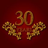 Thirty years anniversary celebration patterned logotype. Thirtieth anniversary vintage golden logo. With shadow Stock Photos