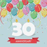 Thirty years anniversary greeting card with candles. Confetti and balloons Royalty Free Stock Images
