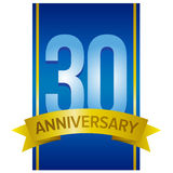 Thirty years anniversary label. Number 30 on blue vertical stripe with yellow tape below. Vector sign on white background.n Stock Photography