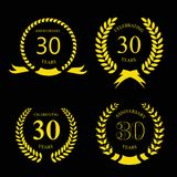 Thirty years anniversary laurel gold wreath set. Thirty years anniversary laurel gold wreath  set Stock Images