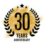 Thirty years golden anniversary. Sign. Gold glitter celebration. Light bright symbol for event, invitation, award, ceremony, greeting. Laurel and star emblem Stock Image