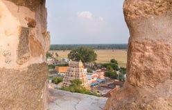 Thirumayam village seen through Battlements. Stock Photography