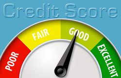 Free This Illustration Shows A Credit Score Using A Credit Score Meter. Royalty Free Stock Image - 125622506