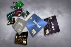 Free This Is A Large Group Of Flying, Floating Credit Cards. Royalty Free Stock Image - 125550846
