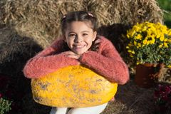 Free This Is Autumn. Ready For Halloween. Autumn Time. Cheerful Kid Dried Flower. Fall Composition. What Can Be Cooked From Royalty Free Stock Photo - 161689105