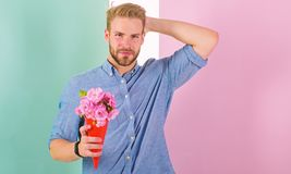 Free This Is For You Boyfriend Happy Holds Bouquet Flowers. Man Ready For Romantic Date Bring Bouquet Pink Flowers. Macho Stock Image - 138120891