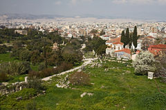 Thisio and Plaka, Athens. A view to Thisio and to Plaka area and archaeological site from the Acropolis of Athens, Greece Stock Images