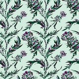 Vector seamless pattern with thistle stock illustration