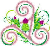 Thistle and Celtic triad Stock Image