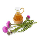 Thistle oil and milk thistle flower Royalty Free Stock Images