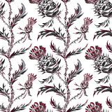 Seamless pattern with stylized flowers and Thistle leaves royalty free illustration
