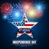 4 thjuli USA stjärna, självständighetsdagen Fyrverkerier Färgrikt fyrverkeri för festival Vektorllustration på blå bakgrund stock illustrationer