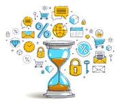 THL_flat_b234Time est concept d'argent, icônes ensemble, allégorie de date-butoir de minuterie de montre de sable, conception de  illustration stock
