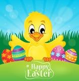 Thème heureux de Pâques avec le poulet Photographie stock