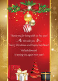 Thnak you business greeting card for winter holidays Stock Photos