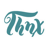 Thnx met de hand geschreven inschrijving Elegant van letters voorzien Geïsoleerdj op witte achtergrond Royalty-vrije Stock Foto's