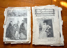 Tho gammal victorian illustrerade tidskrifter Arkivbild