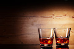 Tho glasses of whiskey Stock Photography