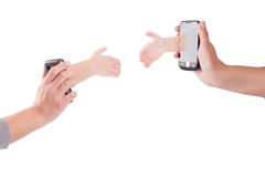 Tho hands with mobile phones Royalty Free Stock Photo