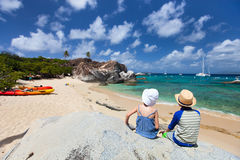 Tho kids enjoying tropical scenery Stock Photography