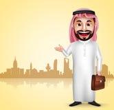Thobe de port d'homme de caractère saoudien de vecteur montrant le point de repère de ville Photographie stock libre de droits