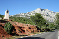 Tholonet road. South face of the sainte victoire Royalty Free Stock Images