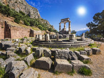 Tholos在特尔斐,希腊 免版税库存照片