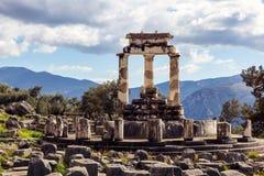 Tholos, Delphi, Grecia Foto de archivo