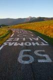 Thomas Allez 59 Tour de France. Thomas Allez 59, Tour de France,  white sign on the road, heart, in the mountains Royalty Free Stock Photos