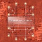 Thomas Alva Edison. Red background and connected bulbs and headline Thomas Alva Edison vector illustration