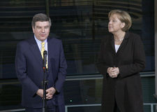 Thomas Bach, Chancellor Angela Merkel Royalty Free Stock Photo