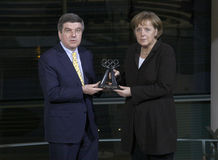 Thomas Bach, Chancellor Angela Merkel Royalty Free Stock Photos