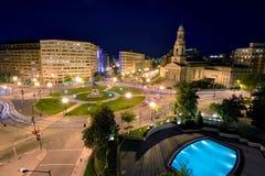 Thomas Circle - Washington D C från ovannämnt på natten arkivfoto