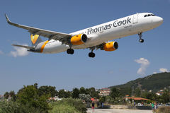 Thomas Cook Airbus A321 airplane Skiathos airport Royalty Free Stock Photography