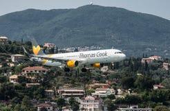 Thomas Cook Airbus Landing. At Corfu Airport stock image