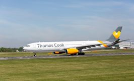 Thomas cook Airbus A300 preparing to take off at Manchester Airport Stock Photo