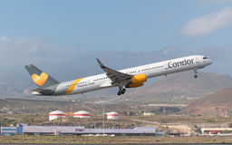 Thomas Cook Condor Boeing 757-300 is taking off from Tenerife South airport on January 31, 2016. Royalty Free Stock Photo