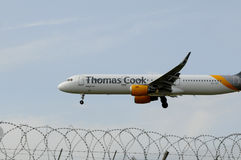 THOMAS COOK FLIGHT LADING IN KASTRUP AIRPORT Stock Photography