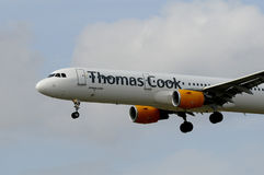 THOMAS COOK FLIGHT LADING IN KASTRUP AIRPORT Royalty Free Stock Photography
