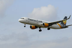 THOMAS COOK FLIGHT LADING IN KASTRUP AIRPORT Royalty Free Stock Image
