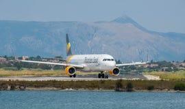 Thomas Cook Taxiing. Thomas Cook Airbus taxiing at Corfu Airport royalty free stock image