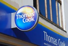 Thomas Cook travel agents, Hastings. Signage outside a branch of travel agent Thomas Cook at Hastings in East Sussex, England on March 9, 2009 Royalty Free Stock Photos