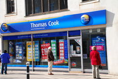 Thomas Cook travel agents, Hastings. Exterior of a branch of travel agent Thomas Cook at Hastings in East Sussex, England on March 9, 2009 Stock Photo