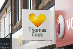 Thomas Cook Travel Agents Sign - Scunthorpe, Lincolnshire, verenigt zich royalty-vrije stock afbeeldingen