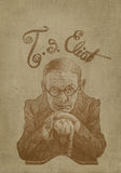 Thomas Eliot Caricature sepia engraving style Royalty Free Stock Image