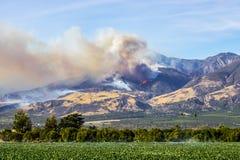 Thomas Fire Burning in den Hügeln über Ventura County Town von Fillmo Stockfoto